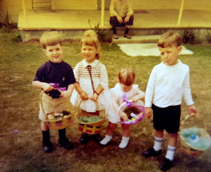 Easter at Grandmother Caldwell's, ca. 1968. Kelly is second from left.