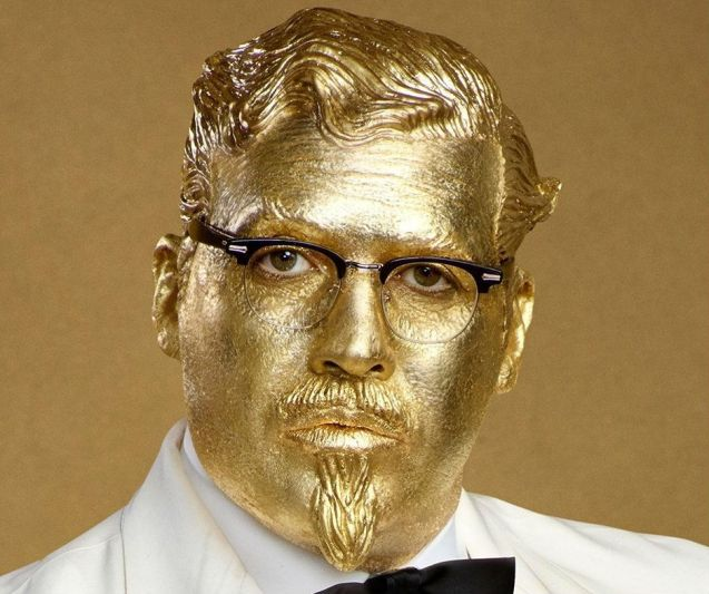 The golden colonel in the KFC commercials is played by Billy Zane of Titanic fame. (Source: KFC)