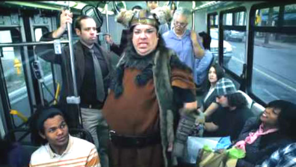 The Viking on the bus. (Source: Screen Grab)