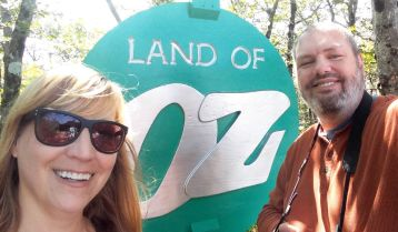 Sweetums and me with the original park sign at the entrance.