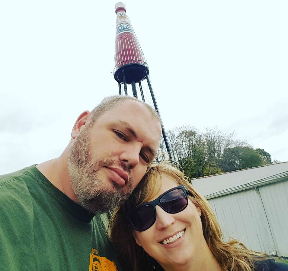 Honeymooning with Sweetums at Worlds Largest Catsup Bottle, selfie