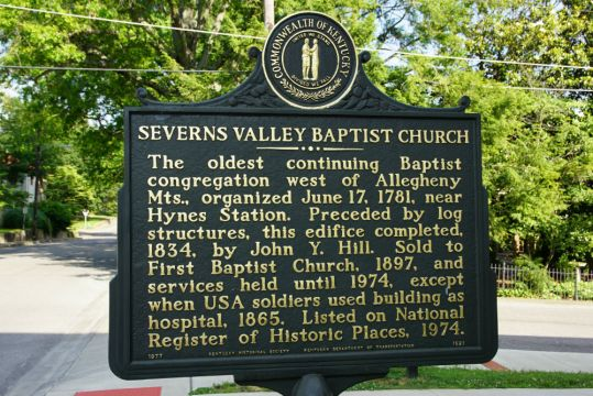 Severns Valley Baptist Church marker, Elizabethtown, Kentucky. (Photo by Wil Elrick/Permission Required)