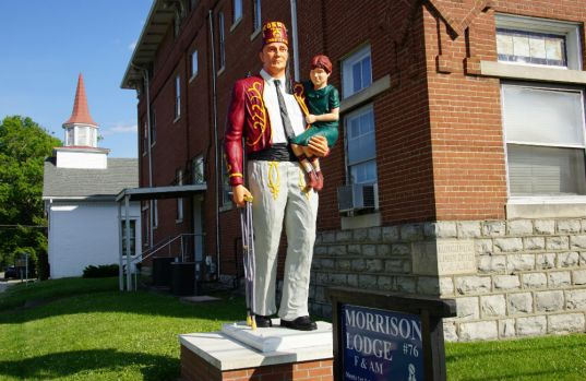 Statue outside Morrison Masons Lodge, Elizabethtown, Kentucky. (Photo by Wil Elrick/Permission Required)